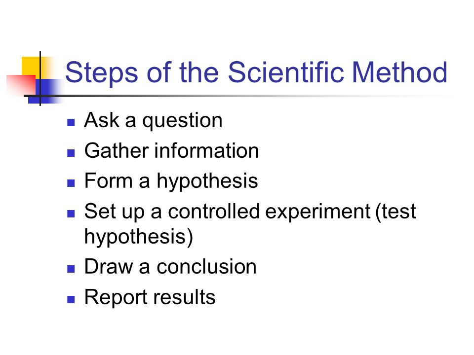 Steps of the Scientific Method Ask a question Gather information Form a hypothesis Set up a controlled experiment (test hypothesis) Draw a conclusion Report results