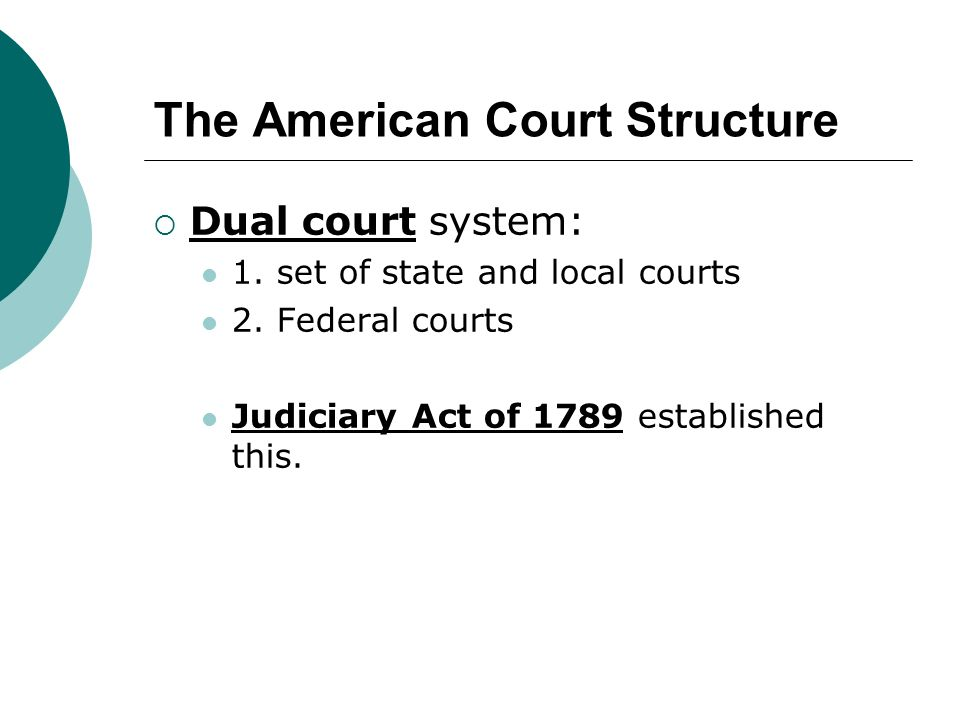 The American Court Structure  Dual court system: 1.