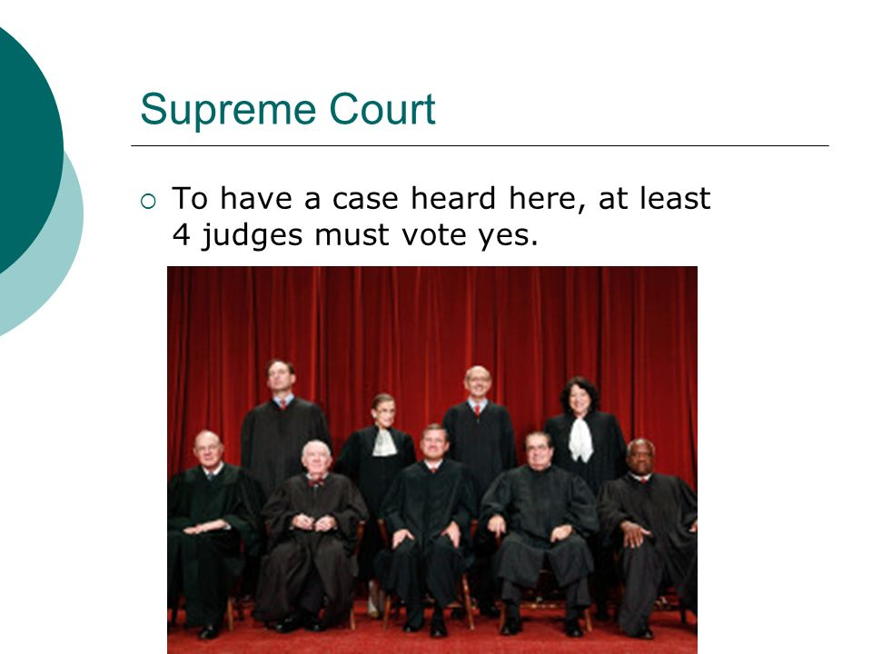 Supreme Court  To have a case heard here, at least 4 judges must vote yes.