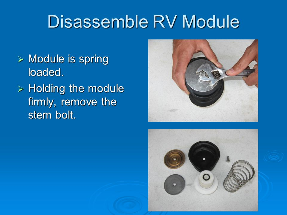 Disassemble RV Module  Module is spring loaded.  Holding the module firmly, remove the stem bolt.