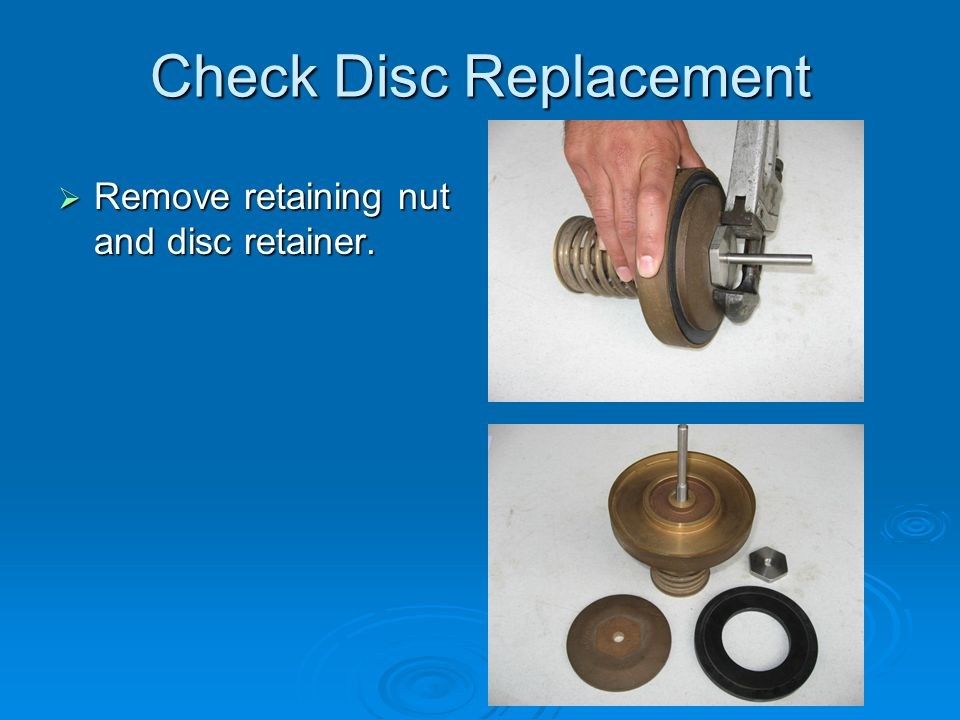 Check Disc Replacement  Remove retaining nut and disc retainer.