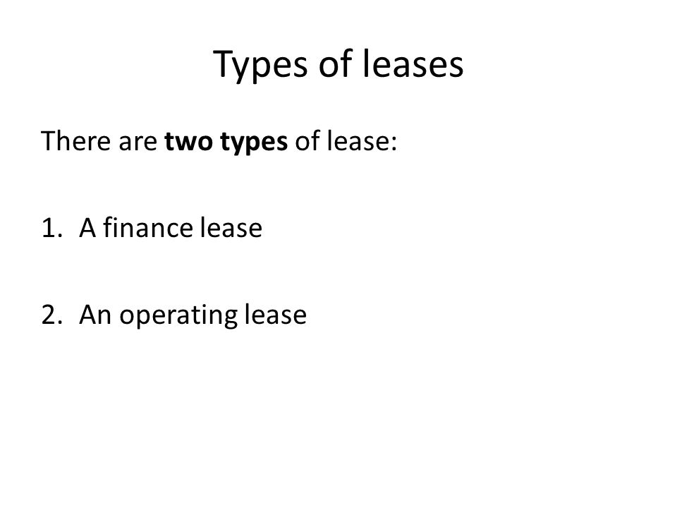 Revise Lecture 23 Leases What Is A Leasing Agreement A Leasing