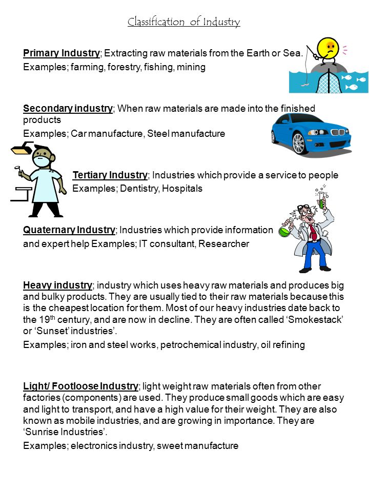 classification of industry primary industry extracting raw