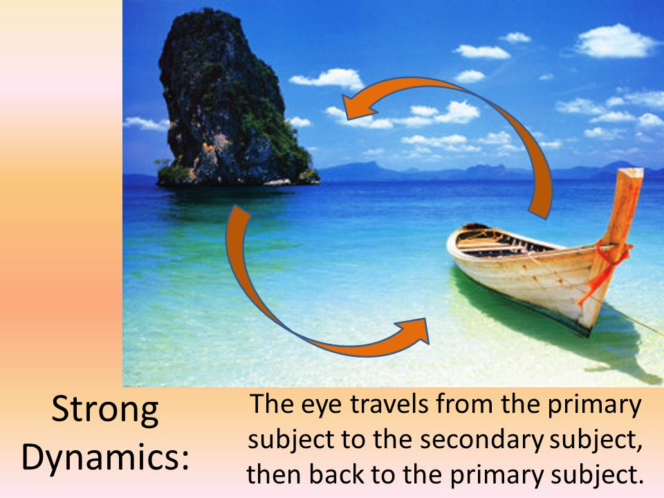 Strong Dynamics: The eye travels from the primary subject to the secondary subject, then back to the primary subject.
