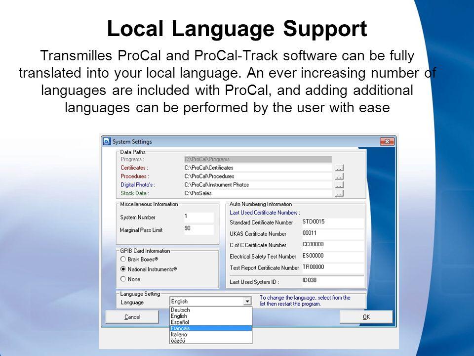 Laboratory Software ProCal Calibration Software ProCal Track
