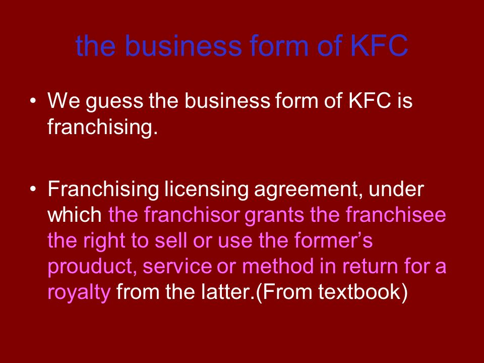 The Business Form Of Kfc Group Member