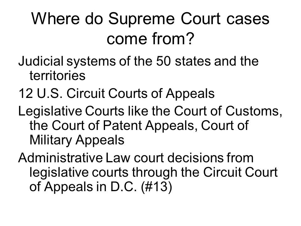 Where do Supreme Court cases come from.