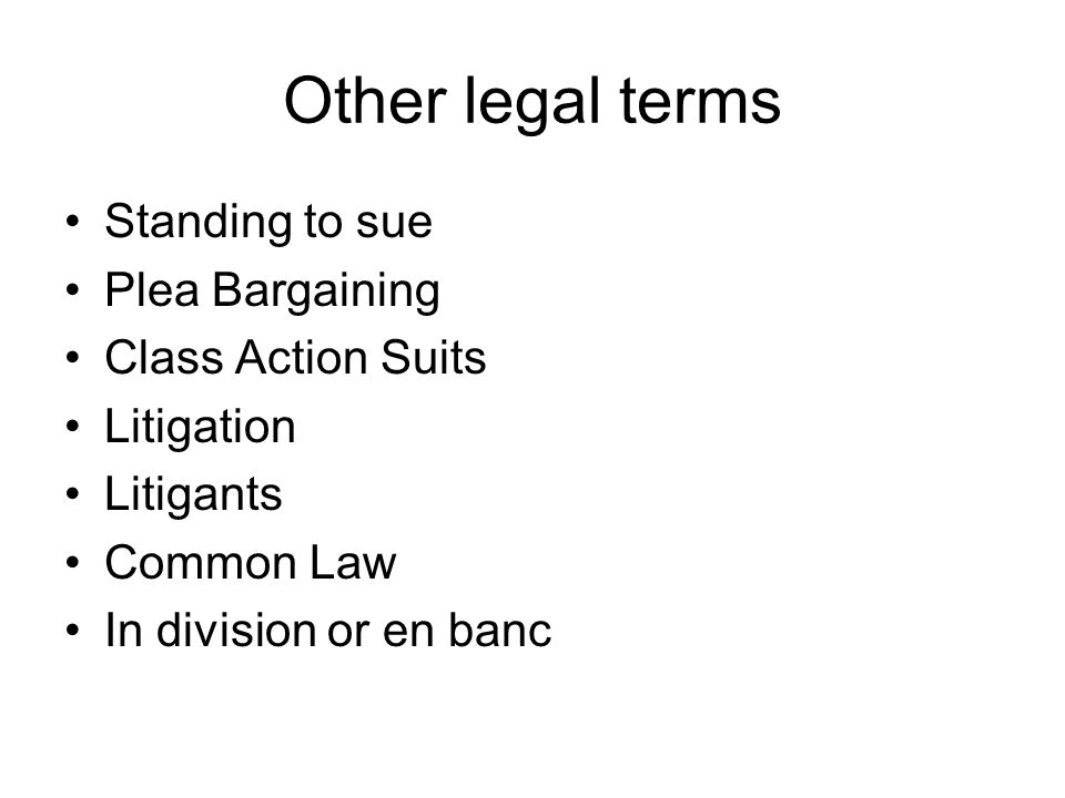 Other legal terms Standing to sue Plea Bargaining Class Action Suits Litigation Litigants Common Law In division or en banc