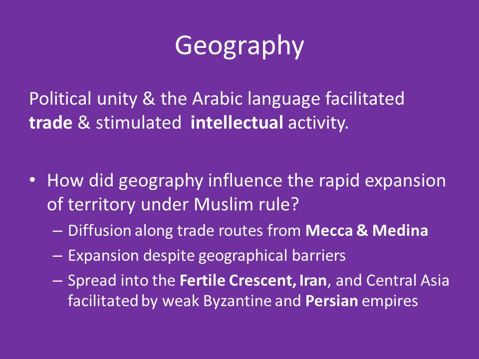 Geography Political unity & the Arabic language facilitated trade & stimulated intellectual activity.