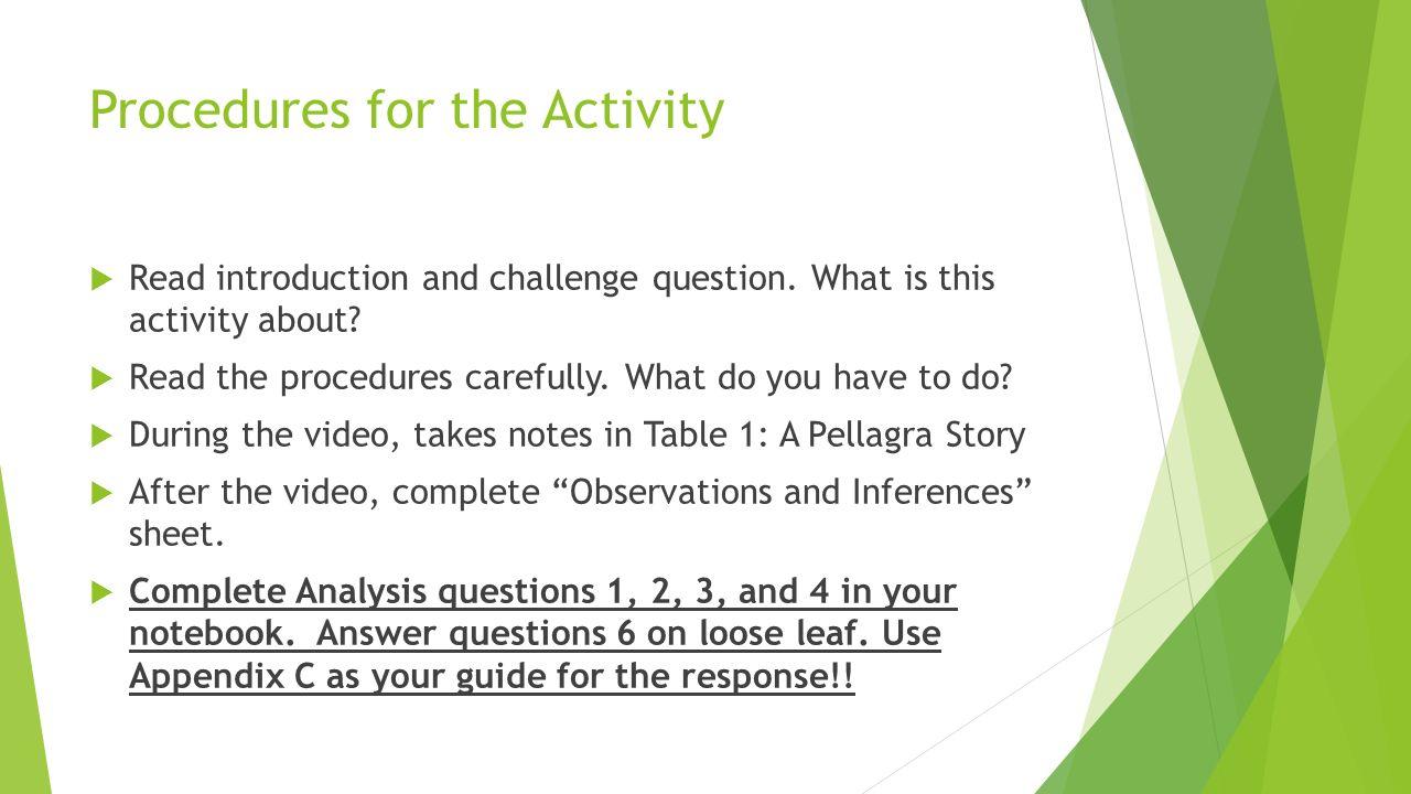 Activity 2 The Pellagra Story Pg A 8 Key Vocabulary Ethics