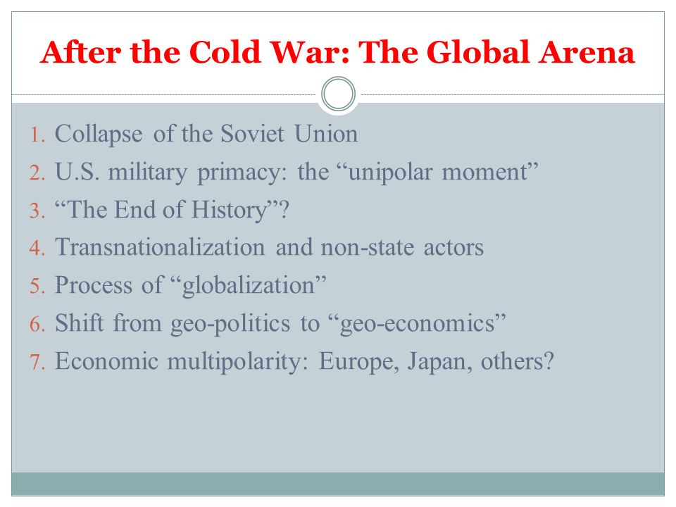 the geopolitical changes of the post cold war era 2009 introduction in the face of total global economic collapse idealism and the mirage of westernrussian partnership after the cold war 1-10-2017 excellent analysis.