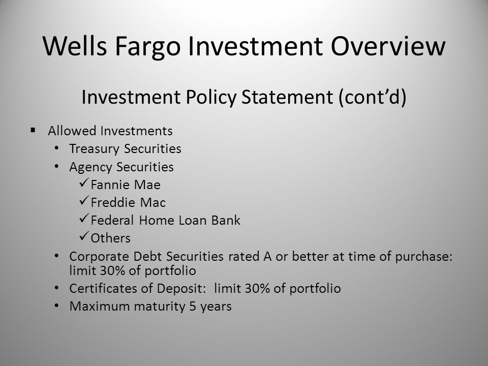 Wells Fargo Investment Overview Cambrian School District August 16 ...