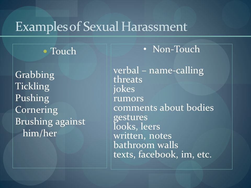 Sexual harassment examples presentation package