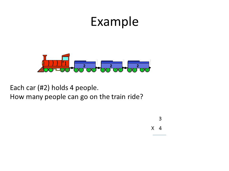 Example Each car (#2) holds 4 people. How many people can go on the train ride 3 X4