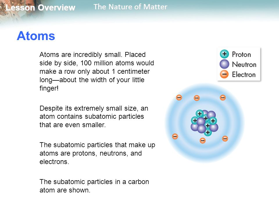 Lesson Overview Lesson Overview The Nature of Matter Atoms Atoms are incredibly small.