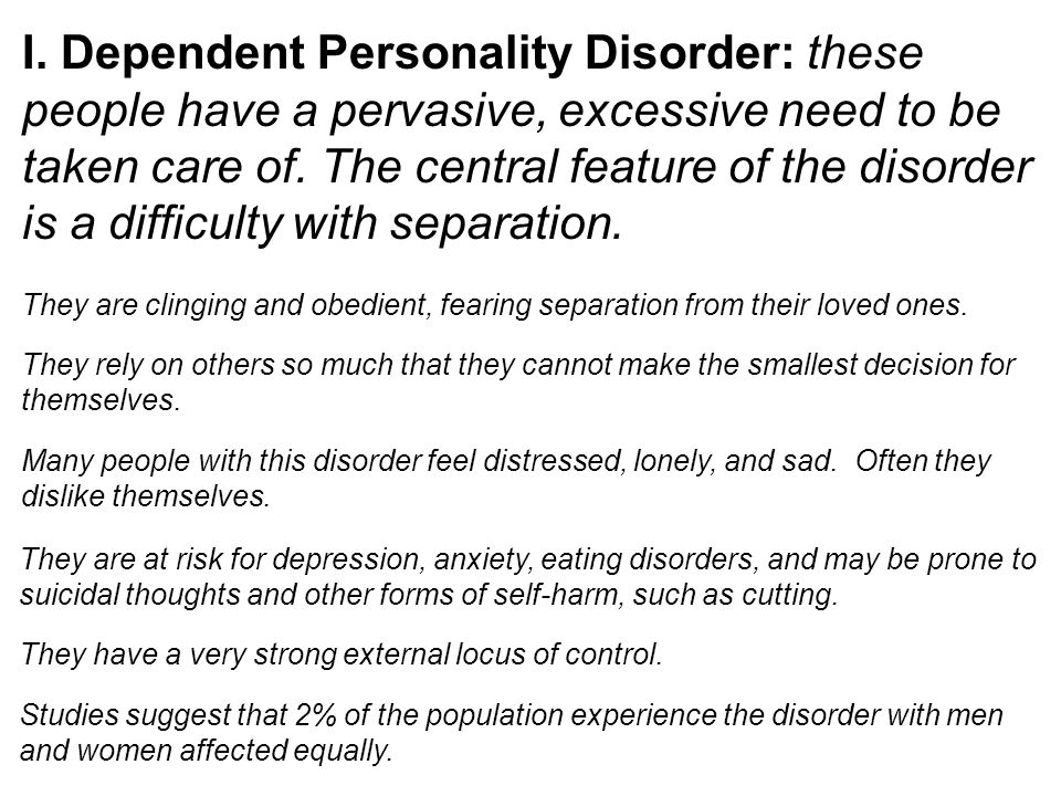 Dependent sexual disorders