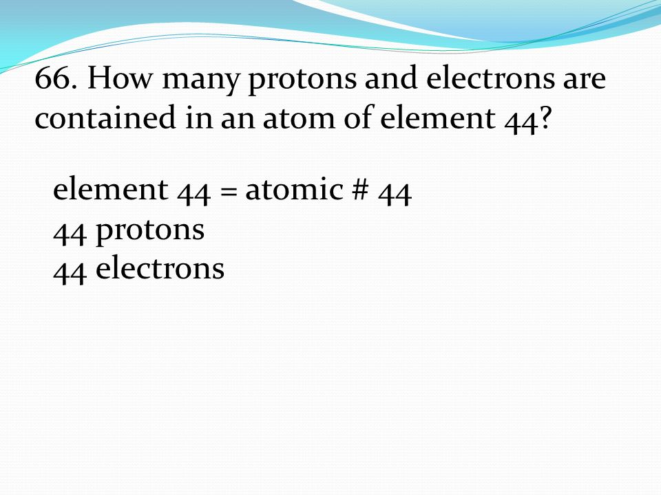 Element 44 Atomic Protons 44 Electrons 66 How Many Protons And