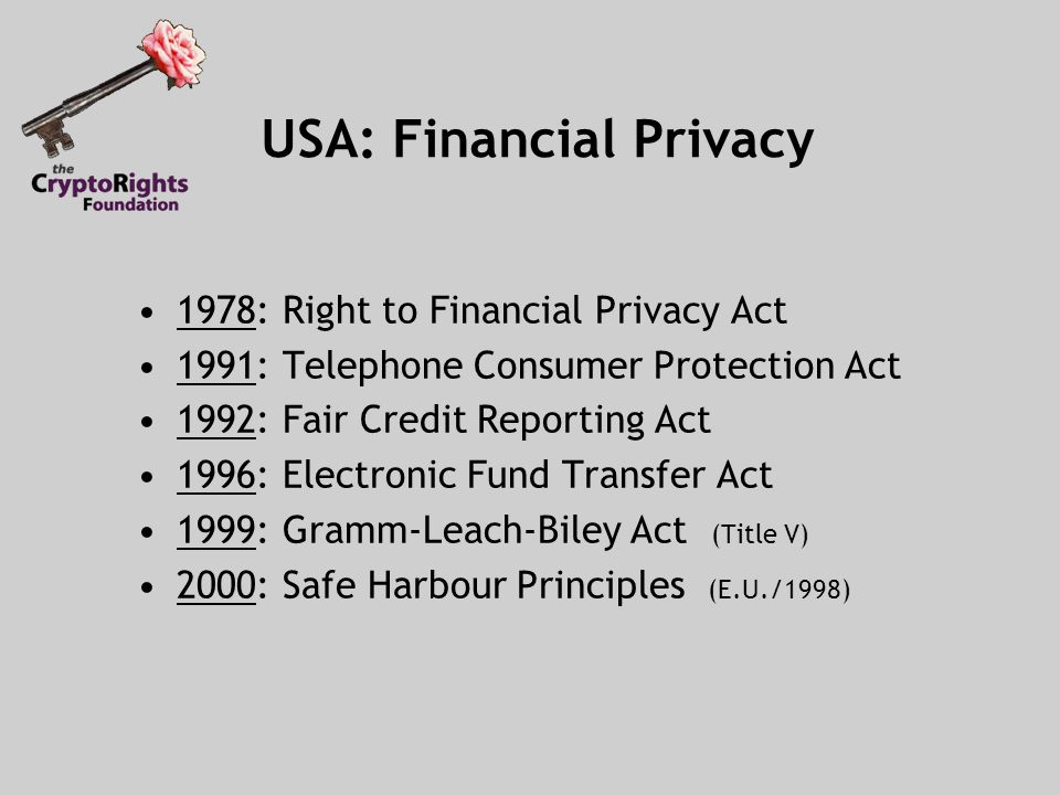 10 USA Financial Privacy 1978 Right To Act 1991 Telephone Consumer Protection 1992 Fair Credit Reporting 1996 Electronic Fund