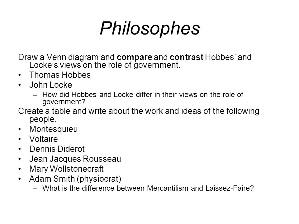 37 philosophes draw a venn diagram and compare and contrast hobbes and lockes views on the role of government thomas hobbes john locke how did hobbes