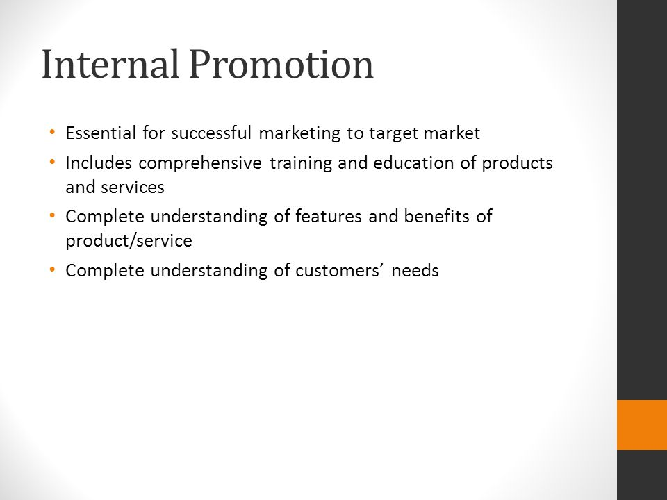 applying the promotional mix advanced marketing internal and