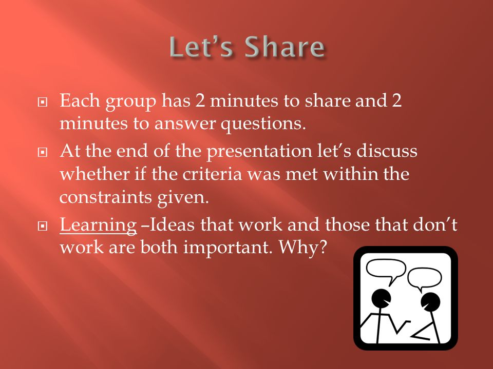  Each group has 2 minutes to share and 2 minutes to answer questions.