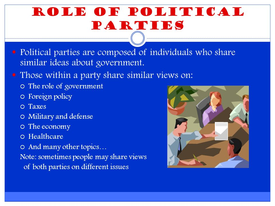 Role of Political Parties Political parties are composed of individuals who share similar ideas about government.
