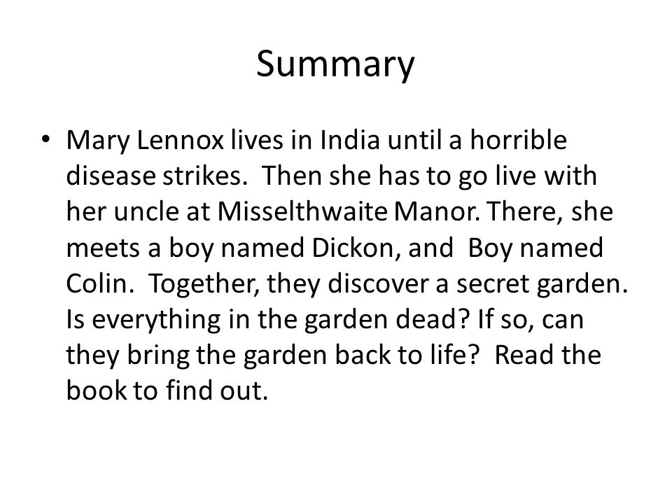 4 summary - The Secret Garden Summary