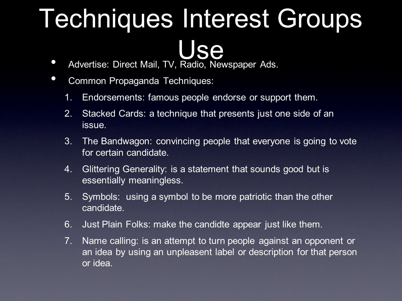 direct techniques used by interest groups