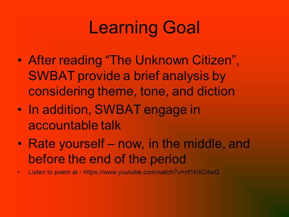 the unknown citizen poem text