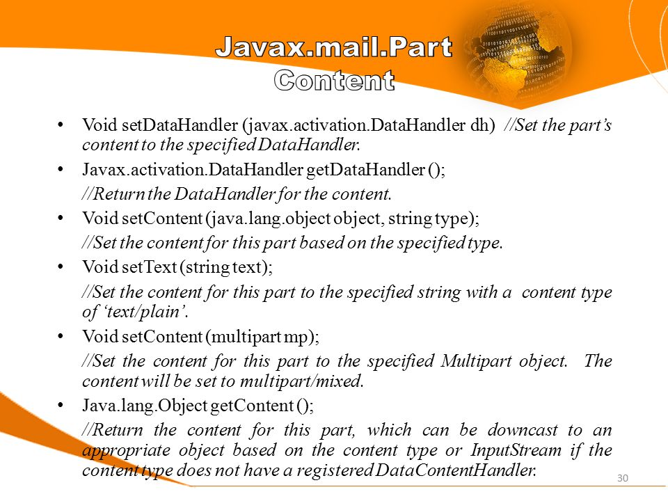 javax.activation.datahandler and javax.mail.internet.mimemultipart
