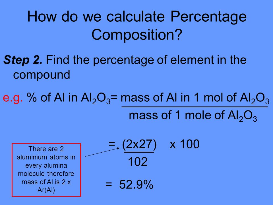 How do we calculate Percentage Composition. Step 2.
