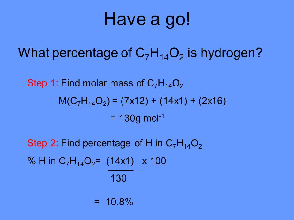 Have a go. What percentage of C 7 H 14 O 2 is hydrogen.