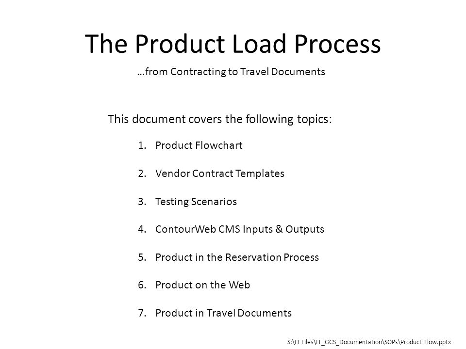The Product Load Process From Contracting To Travel Documents 1