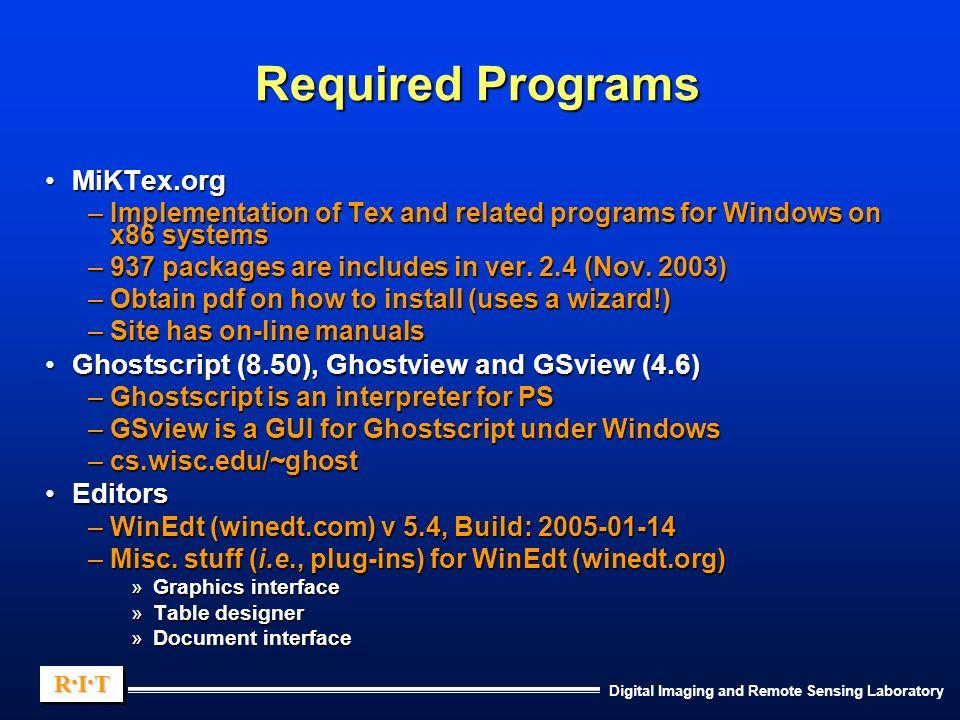 Digital Imaging and Remote Sensing Laboratory R I TR I TR I