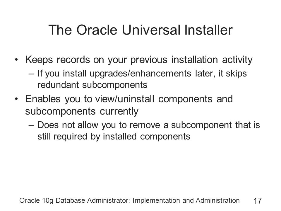 Oracle 10g Database Administrator: Implementation and