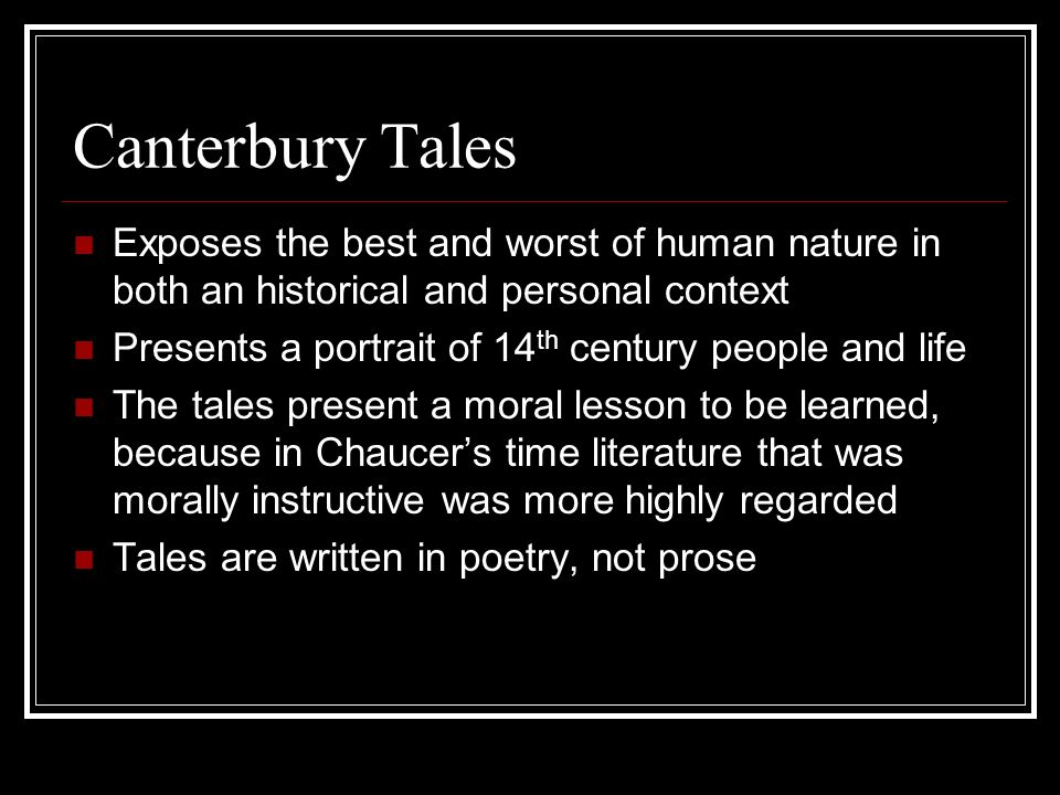 canterbury tales morality paper Excerpt from term paper : chaucer's canterbury tales on the pardoner character palucas an ironic tale of hypocrisy chaucer's work titled, the canterbury tales, reflects his life and the politics of the medieval era.