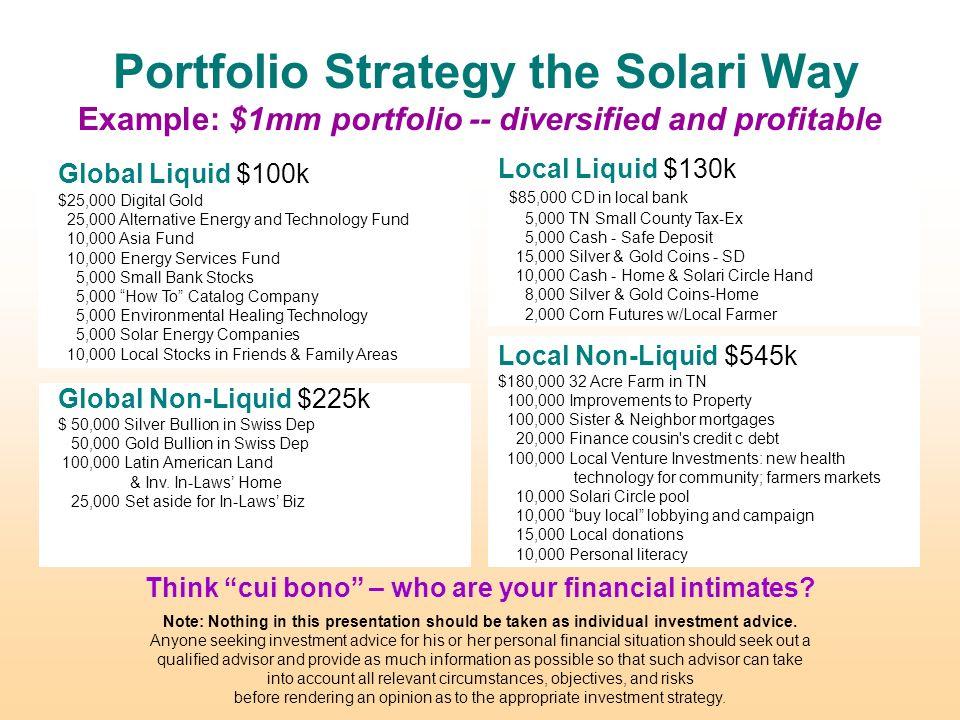 Catherine Austin Fitts Solari Inc  October Portfolio Strategy for