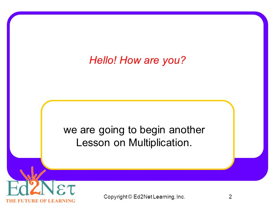 Copyright © Ed2Net Learning, Inc.1 Multiplying with 3 ...
