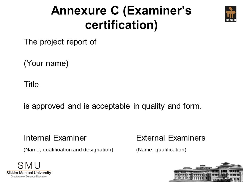Project guidelines for mba fourth semester students ppt download annexure c examiners certification the project report of your name title is yelopaper Choice Image