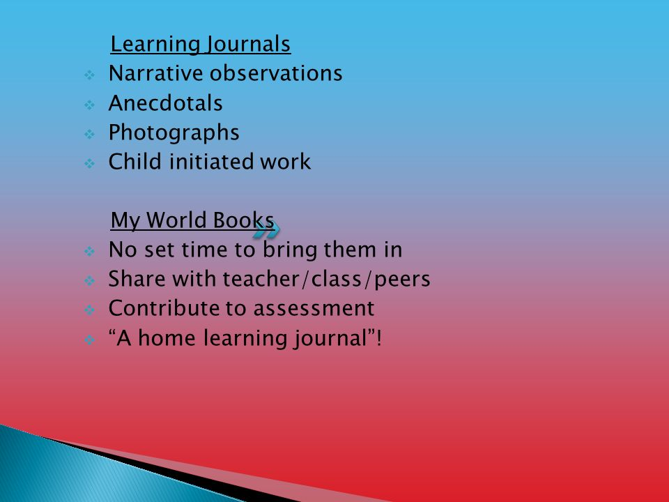 Learning Journals  Narrative observations  Anecdotals  Photographs  Child initiated work My World Books  No set time to bring them in  Share with teacher/class/peers  Contribute to assessment  A home learning journal !