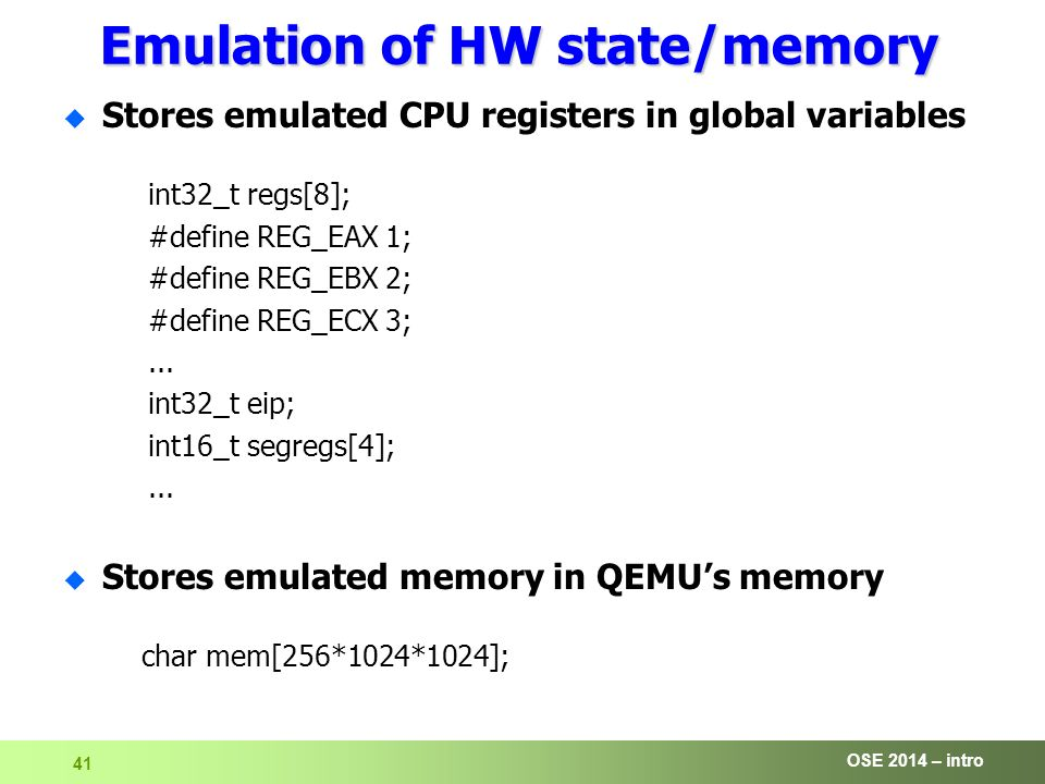 OSE 2014 – intro 1 Operating Systems Engineering [OSE