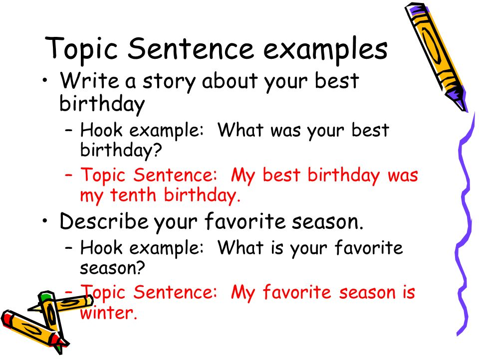 best topic sentence examples