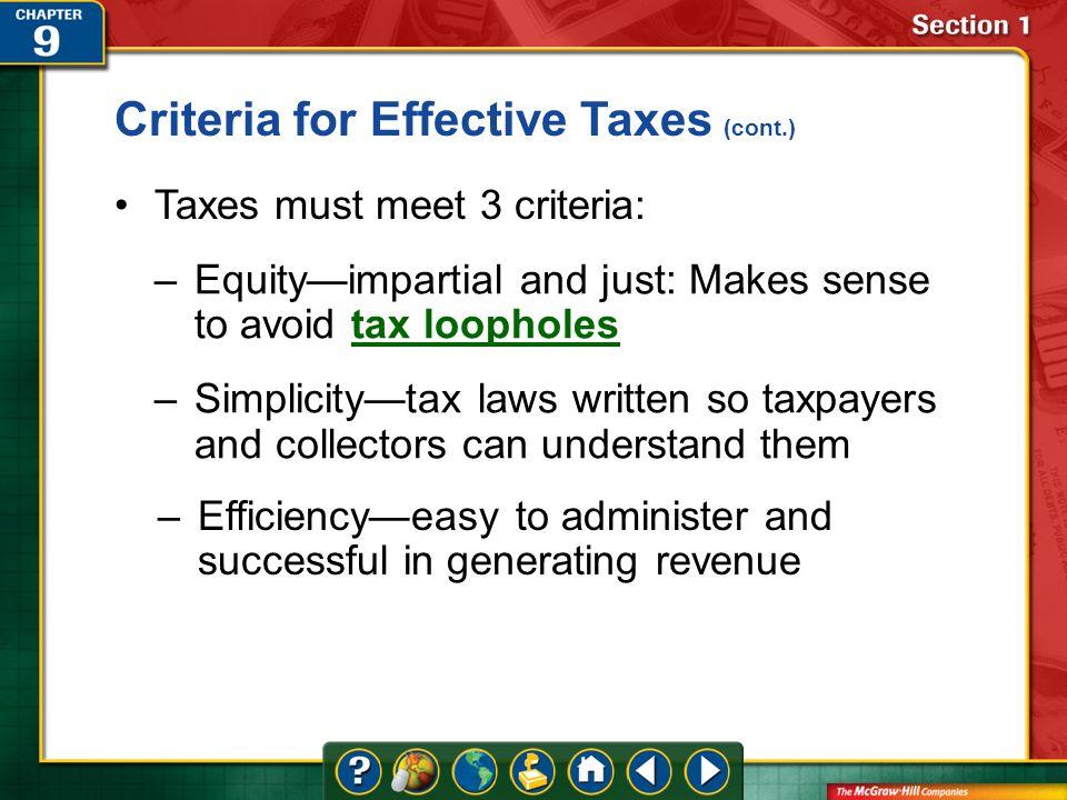 three criteria for effective taxes