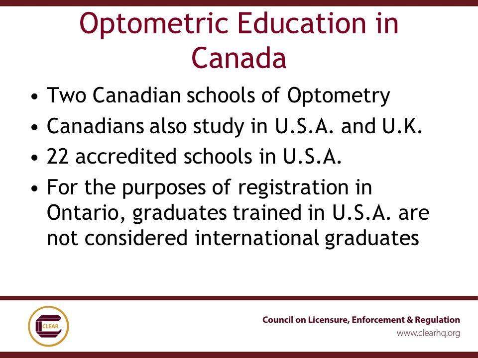 Assessing International Qualifications Optometry Paula Garshowitz