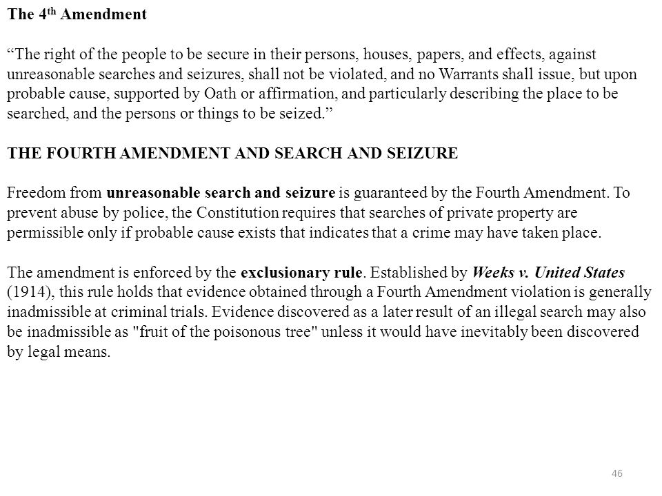 Th Amendment The Right Of The People To Be Secure In Their Persons