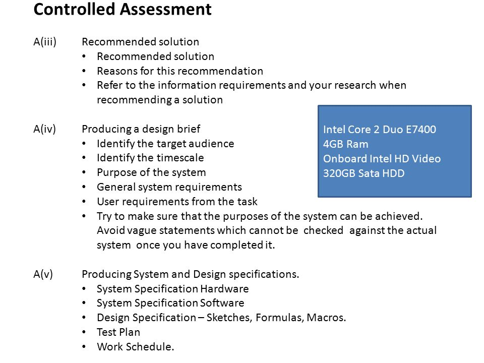 Controlled Assessment A(iii) Recommended solution Recommended ...