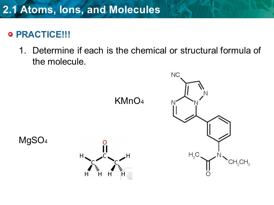 2.1 Atoms, Ions, and Molecules PRACTICE!!.