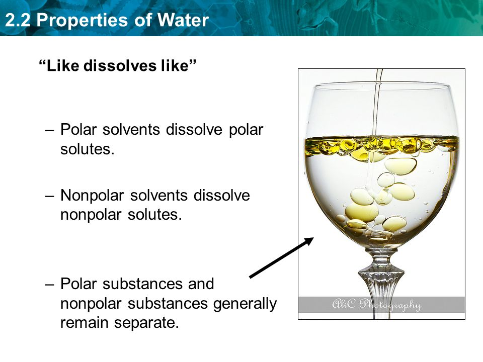 2.2 Properties of Water Like dissolves like –Polar solvents dissolve polar solutes.