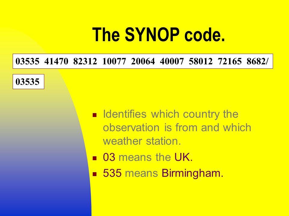 SYNOPTIC OBSERVATIONS DECODING & PLOTTING  ENCODING WEATHER