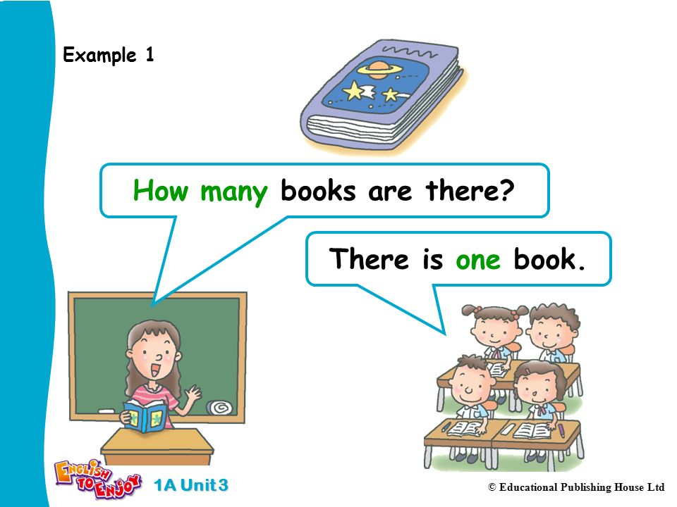 1A Unit 3 © Educational Publishing House Ltd There is one book. How many books are there Example 1